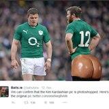 Auch im Rugby wird humorvoll Kim Kardashians Hinterteil veralbert.