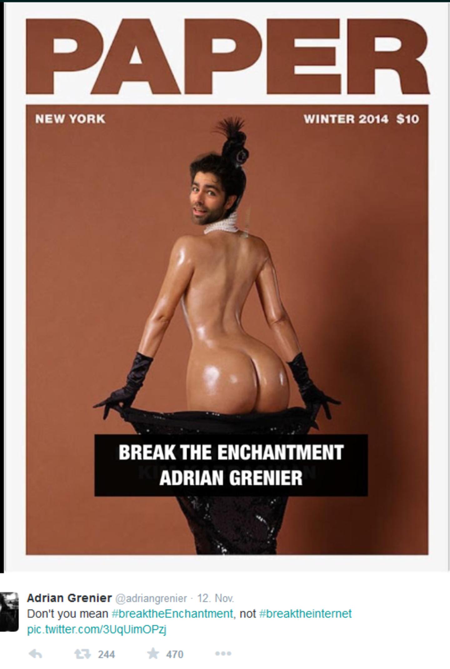 Adrian Grenier verulkt Kim Kardashian wegen ihres Versuchs, das Internet mit Ansichten ihres Hinterteils lahm zu legen.