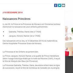 Die Homepage des Fürstenhauses verkündet die Geburt der Zwillinge Gabriella Thérèse Marie und Jacques Honoré Rainier.