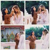 Im Oberteil und dazu passendem Maxi-Rock von Givenchy betont Kim Kardashian während ihres Trips nach Thailand ihre weiblichen Kurven.