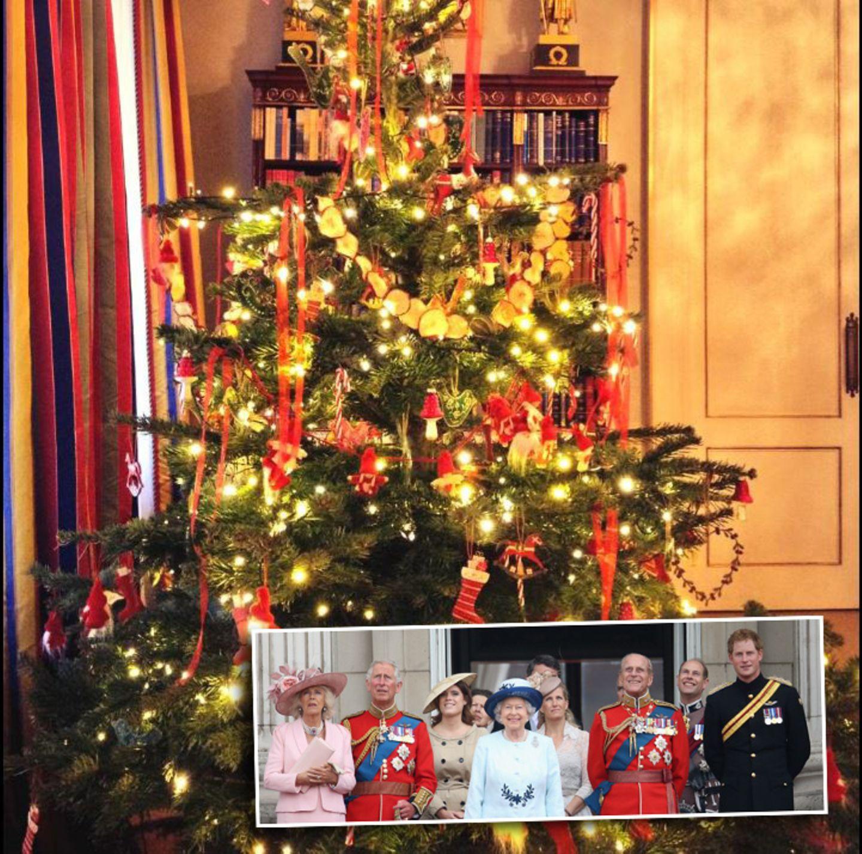 """Apfelscheiben und Candy Canes: Was zu essen gibt es am Weihnachtsbaum der britischen Royals. Das Bild wurde auf dem Twitter-Account des """"Clarence House"""" veröffentlicht."""