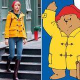 """Taylor Swift als """"Paddington Bär""""  Taylor Swift kam selbst auf die Idee mit dem Vergleich: Rote Mütze, gelber Mantel, wer kann das sein? """"Paddington Bär"""" in seinem Regenoutfit! Oder die Sängerin, wenn sie ihre Wohnung in New York verlässt."""