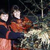 1985  Prinzessin Märtha Louise und ihr Bruder Prinz Haakon, die beiden Kinder von Kronprinz Harald von Norwegen, haben einen Weihnachtsbaum gefällt. Ob er wohl später auch in ihrer Residenz Skaugum geschmückt wird?