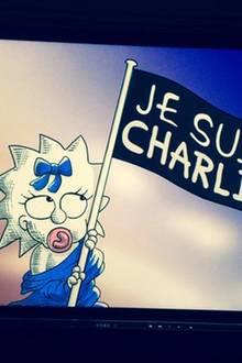 """Maggie Simpson hisst die Flagge """"Je Suis Charlie"""" am Ende der aktuellen Episode, die bereits in Amerika ausgestrahlt wurde."""
