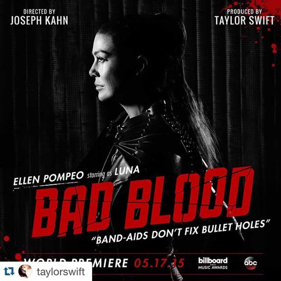 """Mai 2015  Für ihr neues Musikvideo """"Bad Blood"""" scharrt Taylor Swift eine ganze Reihe an Stars zusammen. Auch Ellen Pompeo unterstützt die Sängerin als """"Luna""""."""