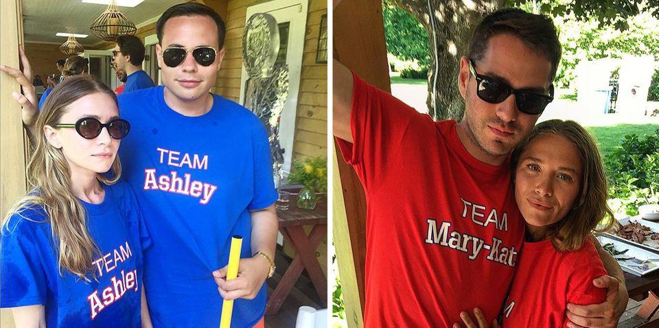 Juni 2015  Mary-Kate und Ashley Olsen feiern eine Geburtstagsparty im Stil einer Olympiade. Ihre besten Kumpels sind natürlich jeweils für #teamashley oder #teammarykate.