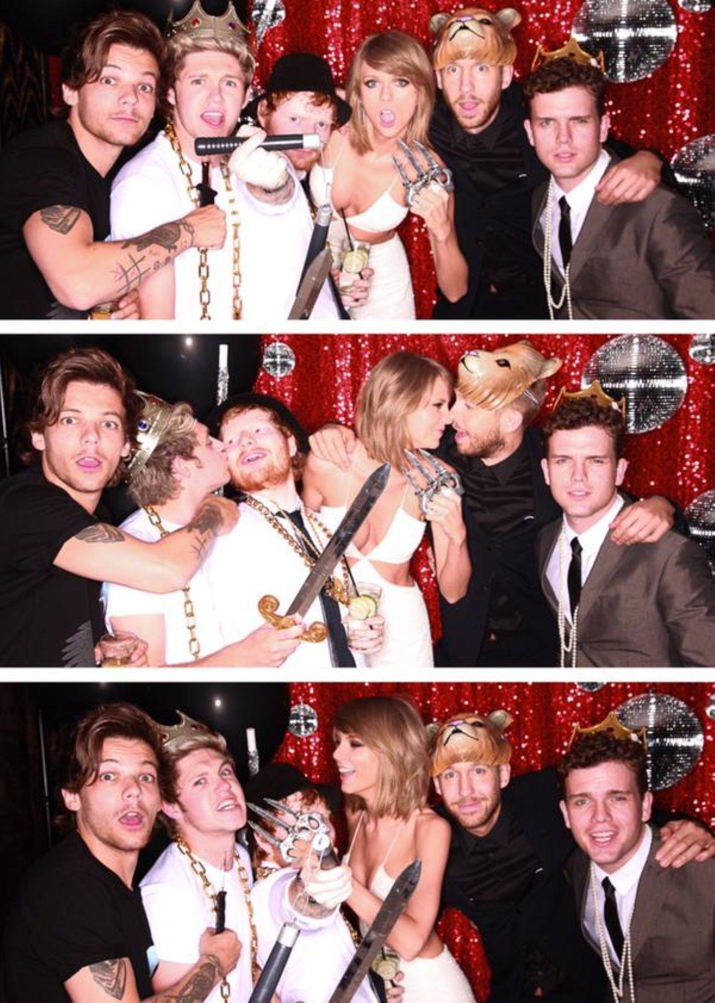 """Mai 2015  Scheint eine wilde Nacht gewesen zu sein: Austin Swift postet auf Twitter dieses Foto auf dem nicht nur die berühmte Schwester Tylor Swift zu sehen ist, auch die """"One Direction""""-Stars Louis Tomlinson und Niall Horan sowie Ed Sheeran ließen es auf der Aftershow-Party der """"Billboard Music Awards 2015"""" so richtig krachen."""