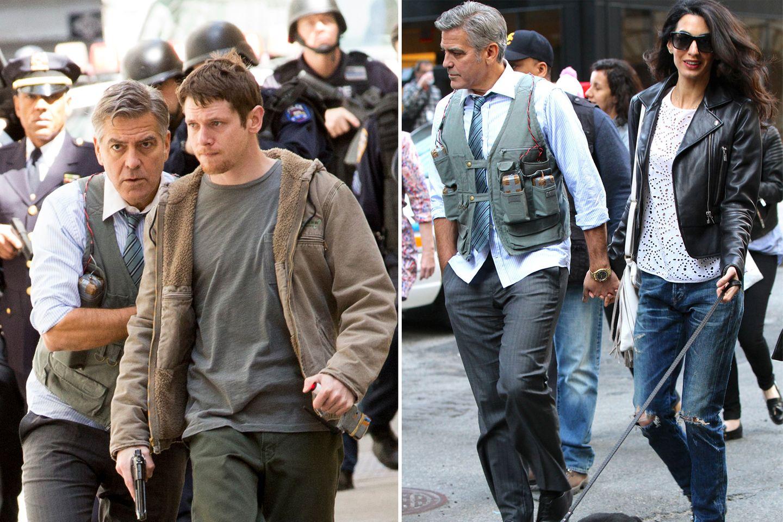 """12. April 2015: Amal Clooney besucht George Clooney am Set seines neuen Films """"Money Monster"""" in New York. Ein gefährlicher Job scheint auf den Schauspieler zu zukommen, wenn man sich sein Outfit anschaut."""