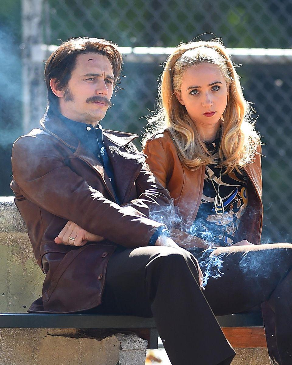 """21. Oktober 2015: James Franco und Zoe Kazan drehen in Brooklyn eine Szene für den Film """"The Deuce""""."""