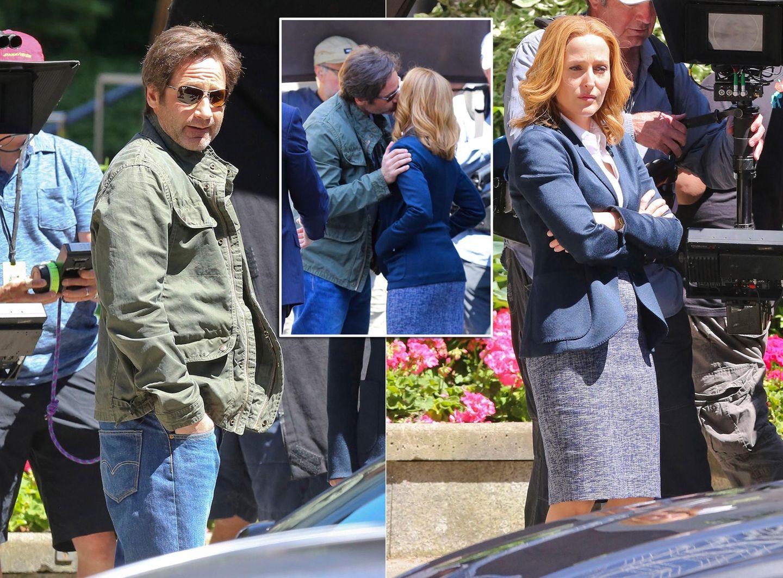 """9. Juni 2015: In Los Angeles haben die Dreharbeiten zu den """"X-Files"""" mit David Duchovny (Mulder) und Gillian Anderson (Scully) begonnen."""