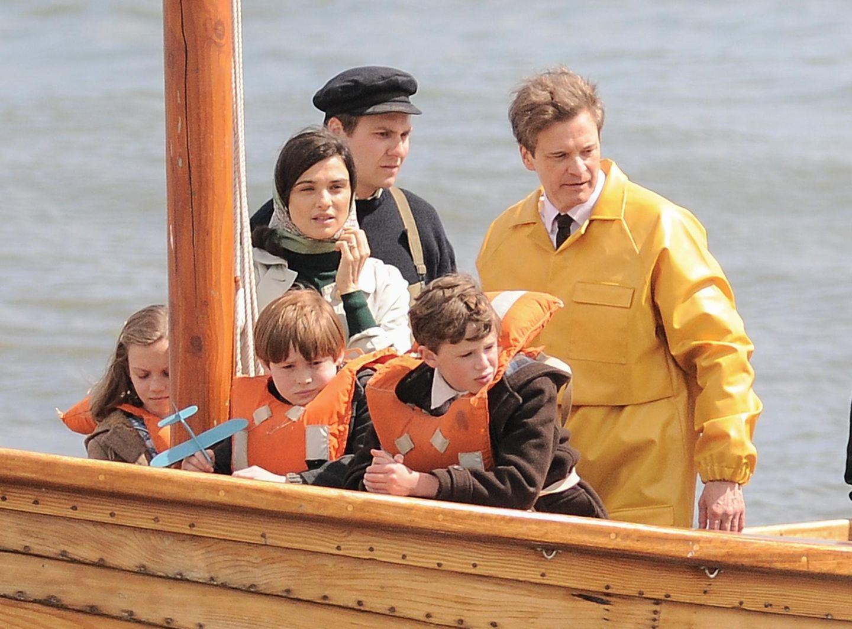 """3. Juni 2015: Colin Firth und Rachel Weisz schlagen sich beim Dreh zu """"The Donald Crowhurst story"""" auch durch die Wellen."""