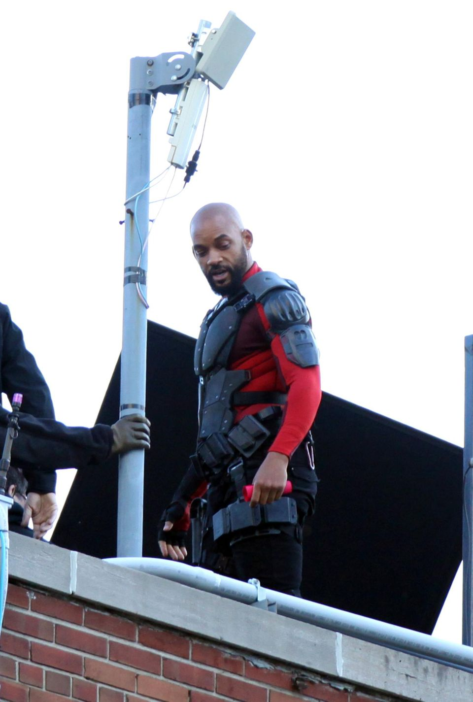 """7. Juni 2015: Will Smith wagt in Toronto für den Film """"Suicide Squad"""" einige gefährliche Stunts."""