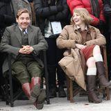 """24. November 2015: Die Schauspieler Jessica Chastain und Daniel Brühl haben sichtlich viel Spaß am Set von """"The Zookeepers Wife""""."""