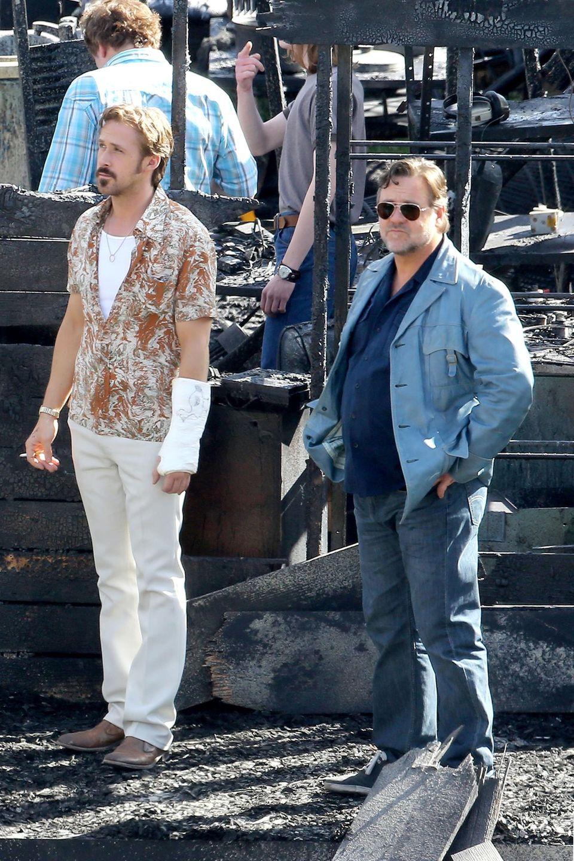 """22. Januar 2015: Der neue Krimi """"The Nice Guys"""" soll erst 2016 in die Kinos kommen. Ryan Gosling und Russell Crowe spielen in dem Film ein ungleiches Team welche zusammen einen spannenden Fall zu lösen haben."""