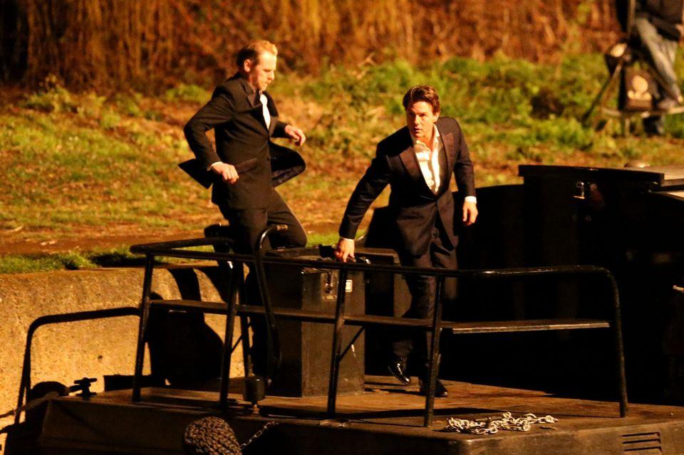 """26. Januar 2015: Tom Cruise und Simon Pegg sind für den Dreh von """"Mission Impossible"""" in aktion."""