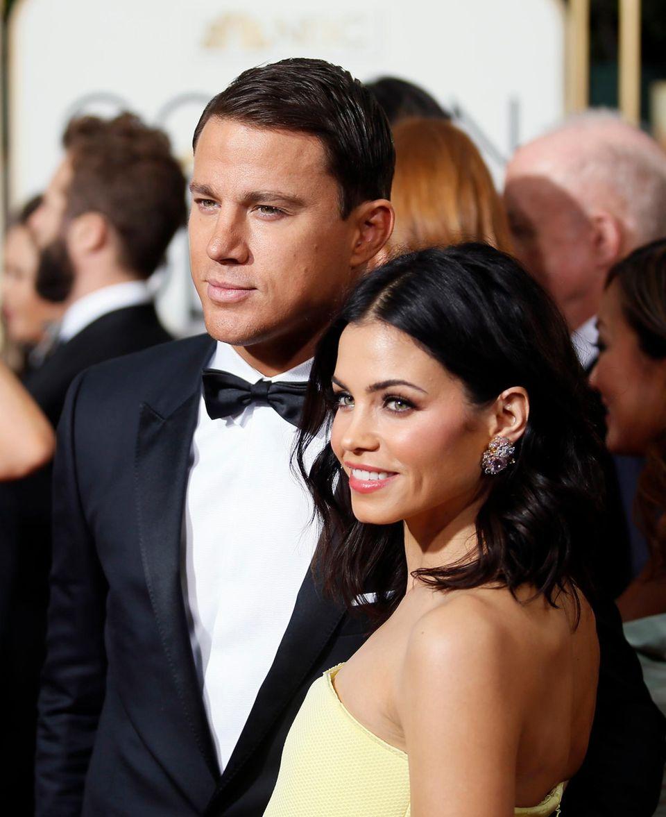 """""""Foxcatcher"""", in dem Channing Tatum einen Ringer spielt, ist als bestes Drama nominiert. Er kommt mit seiner Frau Jenna Dewan-Tatum zur Preisverleihung."""