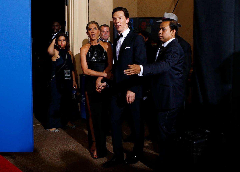 Benedict Cumberbatch und Jennifer Aniston hinter den Kulissen der Verleihung