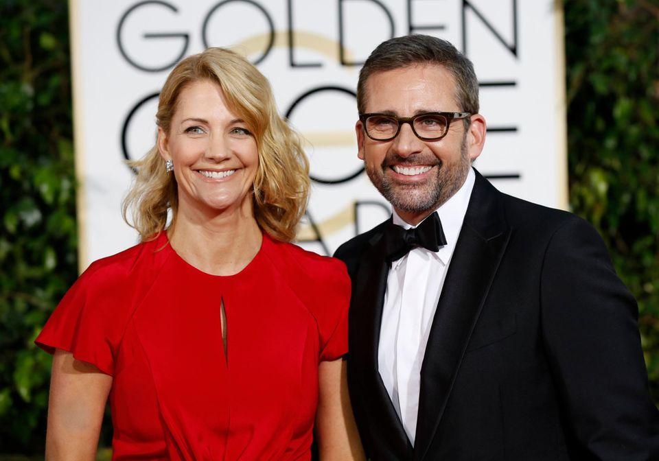 """Steve Carell ist für seine Performance in """"Foxcatcher"""" nominiert. Er kommt mit seiner Ehefrau Nancy zur Preisverleihung."""