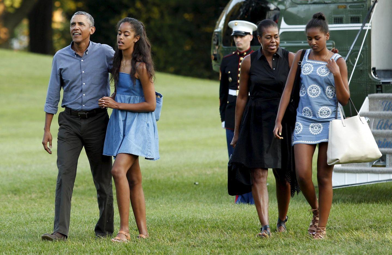 23. August 2015: Familie Obama kehrt von ihrer Reise nach Martha's Vineyard zurück nach Washington.