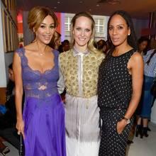 Verona Pooth (in Bibi Bachtadze), GALA-Chefredakteurin Anne Meyer-Minnemann (in Kilian Kerner) und Barbara Becker mit neuer Rasta-Frisur genossen den entspannten Abschluss der Fashion Week Berlin.