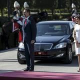 7. Juli 2015: König Felipe und Königin Letizia kommen am El Pardo Palast in Madrid an.