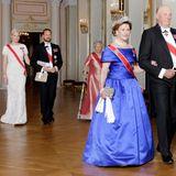 22. Oktober 2015: Prinzessin Mette-Marit, Prinz Haakon, Königin Sonja und König Harald geben ein Dinner für die Repräsentanten des Parlaments (Stortingsmiddag) im königlichen Schloss in Oslo.