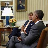 1. Juni 2015: Königin Máxima und König Willem-Alexander der Niederlande besuchen bei ihrem Washington-Besuch Präsident Barack Obama im Oval Office.