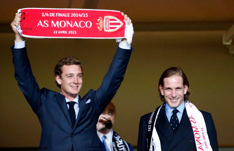 22. April 2015: Pierre und Andrea Casiraghi feuern den Fußballclub AS Monaco im Champions-League-Spiel gegen Juventus Turin an.