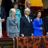 21. April 2015: Nachdem das schwedische Königspaar in der vorherigen Woche in Dänemark war, ist nun Königin Margrethe nach Stockholm gekommen und nimmt an einem Jubiläumskonzert zu Ehren des Komponisten Jean Sibelius teil.