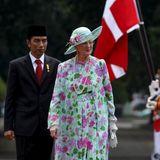 22. Oktober 2015: Königin Margrethe von Dänemark wird von Indonesiens Präsident Joko Widodo in Jakarta empfangen.
