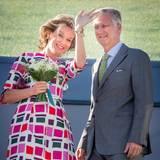 10. September 2015: Königin Mathilde und König Philippe besuchen im belgischen Limburg einen Campus für junge Unternehmer.