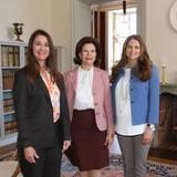 4. Juni 2015: Königin Silvia und Prinzessin Madeleine empfangen Melinda Gates im Stockholmer Schloss.
