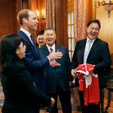 Japan Tag 2: Prinz William trifft gutgelaunte Rugby-Spieler aus Japans oberster Liga.