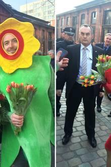 """Deutschland Tag 2  Für Königin Máxima werden sogar Blumen von einer """"Blume"""" überreicht."""