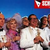 """Schauspiel-Größen wie Götz George, Harald Juhnke und Christiane Hörbiger feiern gemeinsam mit Helmut Dietl ihren """"Schtonk!""""-Erfolg."""