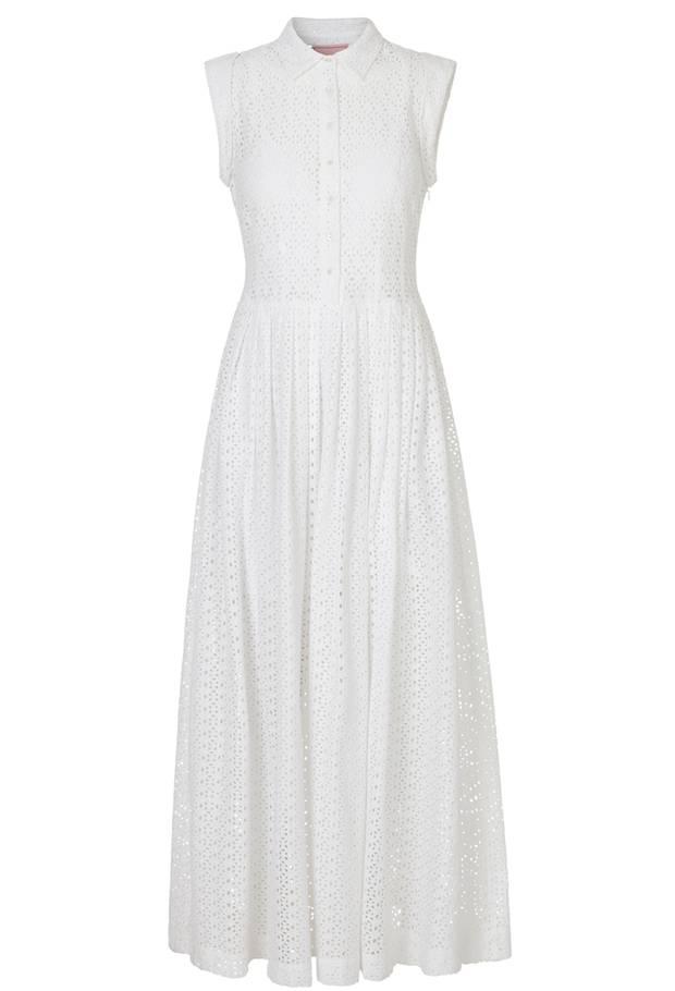 Hochgeschlossen, aber ärmellos:  Das Kleid von Edith & Ella spielt mit Gegensätzen. Ca. 300 Euro