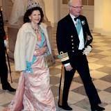 15. April 2015: Ankunft zum Bankett auf Schloss Christiansborg  Königin Silvia und König Carl Gustaf