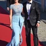Die Strahlendeste des Polterabend war aber natürlich die Braut selber. Richtig Hollywood-like war Sofia Hellqvists Wahl auf ein hellblaues Traumkleid von Zuhair Murad gefallen.
