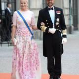 Kronprinz Haakon und Kronprinzessin Mette-Marit von Norwegen präsentieren sich den vielen Fotografen.