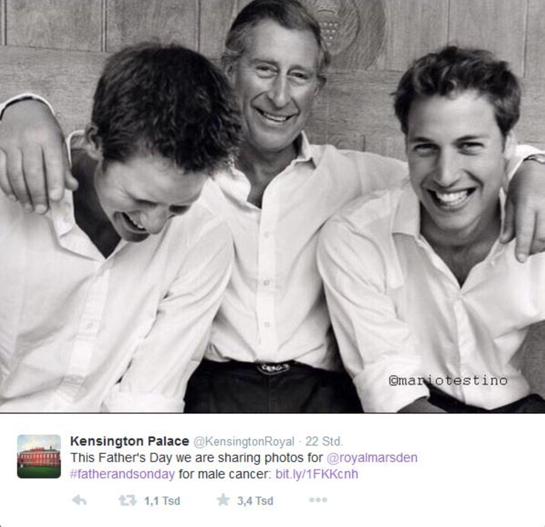 Zum Vatertag twittert der Kensington Palace ein Schwarzweißfoto von Prinz Charles und seinen Söhnen.