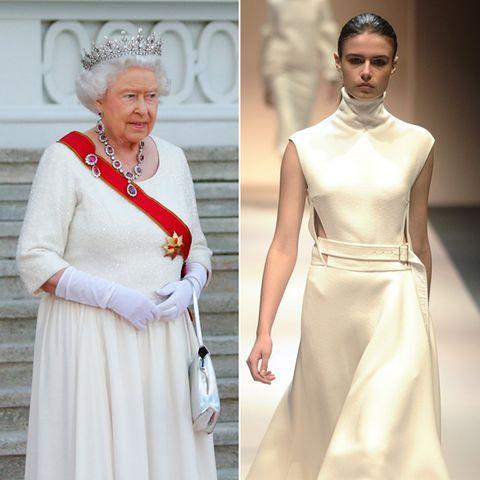 Designerin Victoria Beckham sieht Frauen für den Herbst in Weiß. Style-Queen Elizabeth II. hat diesen Trend natürlich schon längst aufgespürt. Im schlichten weißen Abendkleid macht sie beim Staatsempfang eine super Figur. Und wie das Label DSquared2 liebt sie Akzente mit Rubinschmuck.