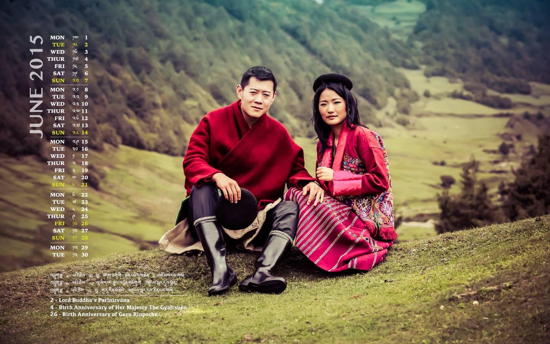 Im Juni, dem Geburtstagsmonat Ihrer Majestät der Gyaltsuen, zeigen sich König Jigme und das Geburtstagskind - Jetsun Pema wird am 3. Juni 2015 25 Jahre alt - festlich gekleidet in Sakteng.