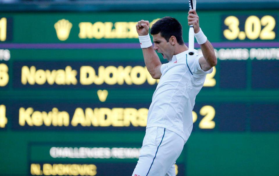 Novak Djokovic gewinnt sein Match gegen Kevin Anderson.