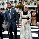 Prinz Haakon und Prinzessin Mette-Marit sind aus Norwegen angereist.