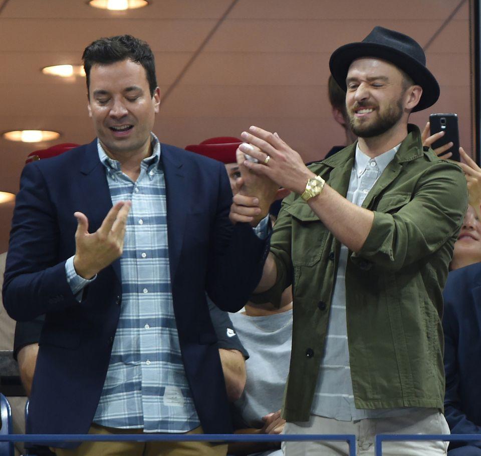 Jimmy Fallon und Justin Timberlake legen ein kleines Tänzchen hin.