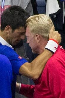 Boris Becker feiert mit seinem Schützling Novak Djokovic den Turniersieg.
