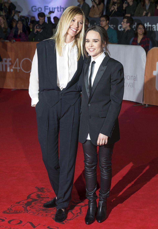 Im Partnerlook: Ellen Page (r.) in Saint Laurent und Samantha Thomas