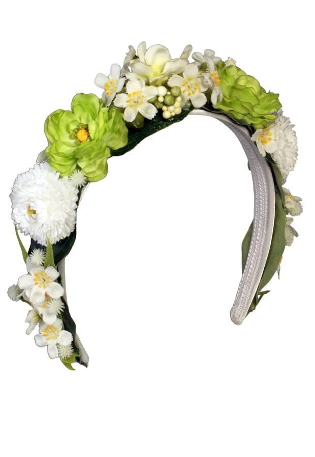 Blumengruß: Handgefertigter Haarreif von Dirndl Liebe, ca. 70 Euro