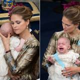 Liebevoll schmiegt Prinzessin Madeleine ihren Sohn an sich und versucht ihn zu beruhigen.