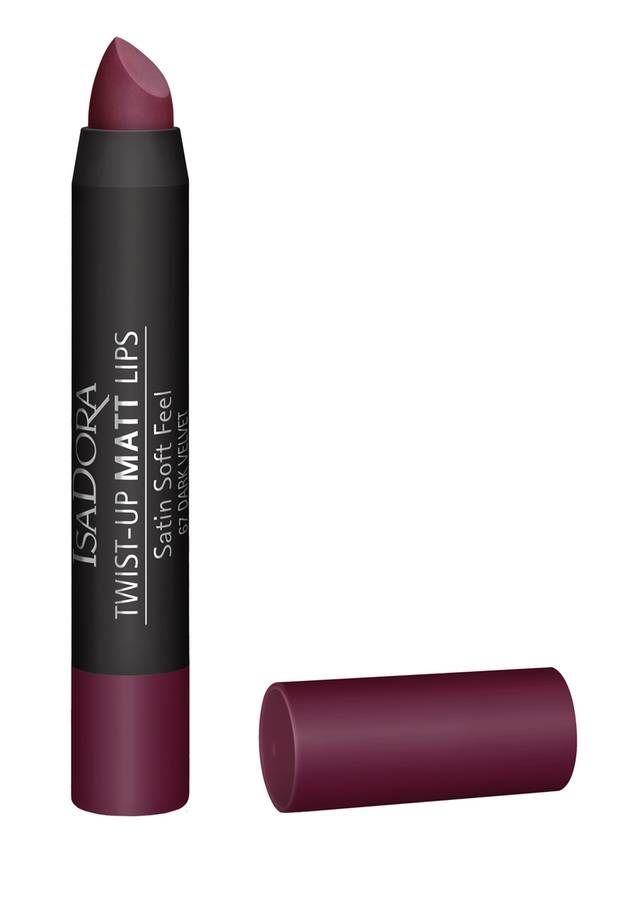 "Volle Pflaumen-Power:  der Drehstift ""Twist-up Matt Lips – Dark"" von Isadora, ca. 14 Euro"